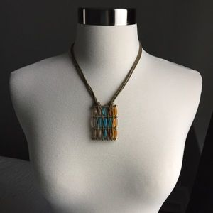 Murano Glass Necklace with Leather Cord
